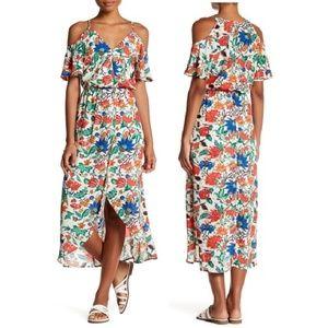 Fraiche By J Cold Shoulder Floral Maxi Dress L